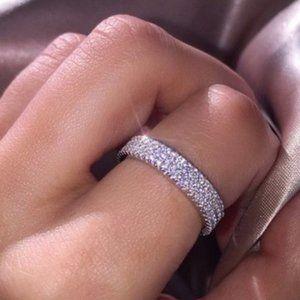 NEW 925 Silver Diamond Triple Eternity Ring